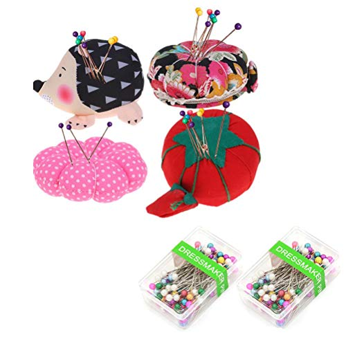 FADACAI 4 Pack Pin Cushions Pin Patchwork Holder with 200pcs Round Assorted Pearl Head Pins Dressmaking Straight Pins for DIY Decoration Sewing