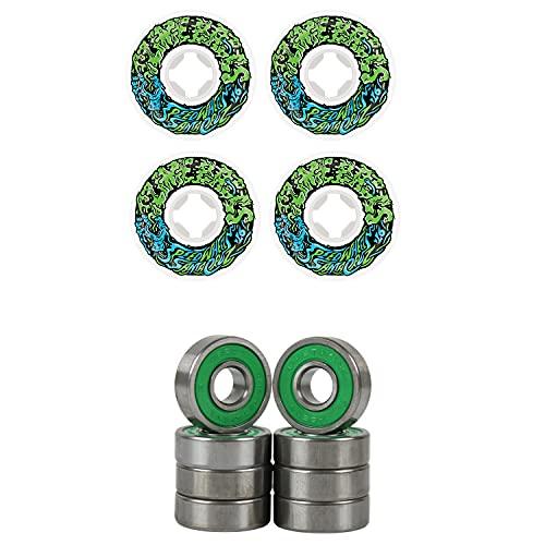 Slime Balls Skateboard Wheels 54mm Vomit Mini 97A White/Green ABEC 7 Bearings