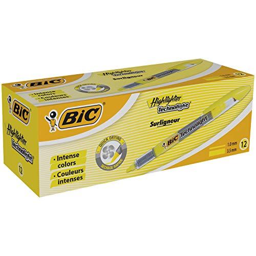 BIC Highlighter Technolight Marcadores punta biselada Ajustable - Amarillo, Caja de 12 unidades