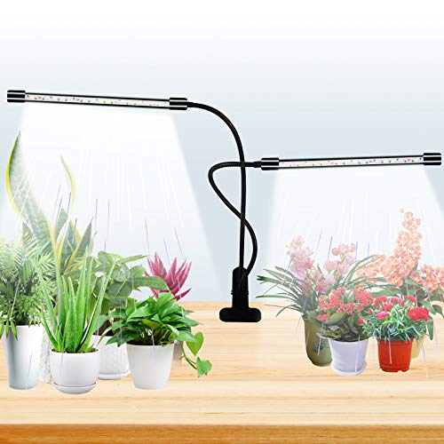 Grow Light for Indoor Plants, 40 LED Plant Growing Lamp with Full Spectrum, Dual Head Clip-on Plant Lights with 5 Levels Dimmable Brightness & 4/8/12H Timer for Succulent, Small Plants