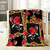 Mugod Red Rose Throw Blanket Baroque and Flowers Pattern Decorative Soft Warm Cozy Flannel Plush Throws Blankets for Bedding Sofa Couch 50 X 60 Inch