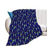 Manta de forro polar de franela Alien Ufo Patrón de espalda ultra lujosa manta para cama sofá resistente al encogimiento manta de camping para mujeres y hombres, 150 x 152 cm