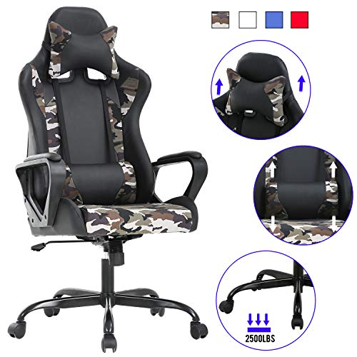 Computer Gaming Chair PC Ergonomic Office Chair Home Executive Desk Chair Adjustable High-Back PU Leather Racing Chair Rolling Swivel Modern Task Chair with Lumbar Support Headrest Armrest (Camo) chair gaming