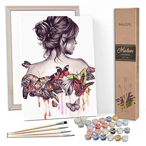 MARPL® Malen nach Zahlen Erwachsene [DIY-Kit] mit Rahmen - Malset mit vorgedruckter Leinwand für Gemälde Acrylfarben Kreativ Motiv 40 * 50cm Frau Schmetterling