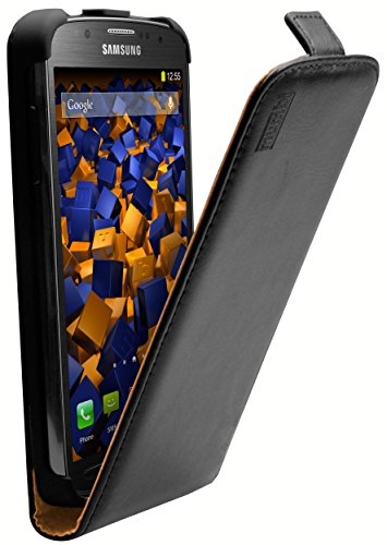 mumbi Echt Leder Flip Case kompatibel mit Samsung Galaxy S4 Active Hülle Leder Tasche Case Wallet, schwarz