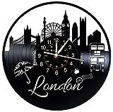 Yubingqin Relojes de Pared del Disco de Vinilo, Grandes Relojes con la Ciudad de Londres temática de la decoración de Paredes, muros for el hogar. (Color : A)