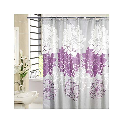 KnSam Duschvorhang Wasserdicht Anti Schimmel Waschbar mit 12 Duschvorhangringe Pfingstrose Badvorhang für Badezimmer Badewanne Lila 280 x 200 cm