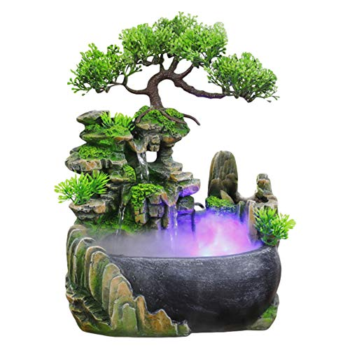 Fontana D'acqua Da Interno - Fontana A Cascata Silenziosa Meditazione Zen Simulazione Da Tavolo Fontana D'acqua Da Giardino Roccioso Arredamento Bonsai Con Atomizzatore Luci Colorate A LED