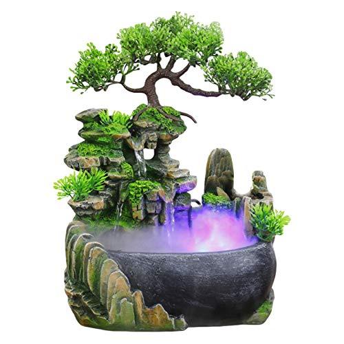 popchilli Zimmerbrunnen mit Beleuchtung, Brunnen Steingarten Zerstäubung des Desktop Wasserbrunnens Magische Wasserfallatmosphäre Exquisite Verzierung Für Home Office Tabletop