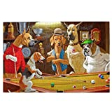 STvog Jigsaw Puzzles 1000 Pieces Beagle Dogs Playing Pool Smoking Dog Picture Handmade Gifts Large Puzzle Game Artwork for Adults Teens