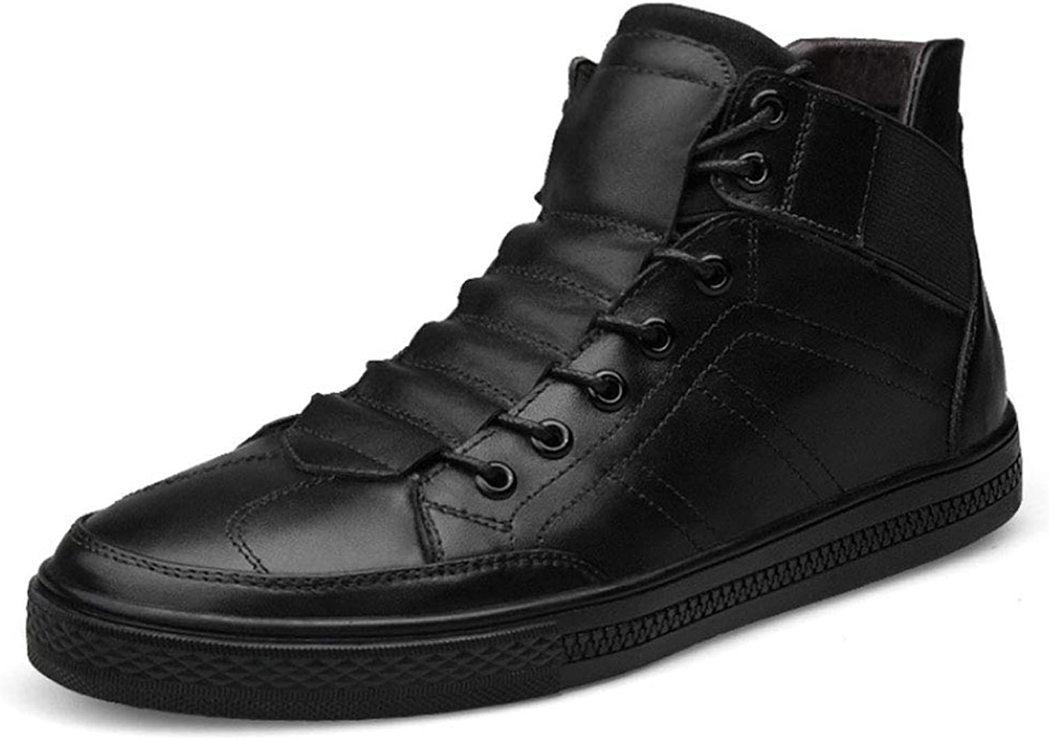 JHHXW Leather shoes, youth trend shoes, men's shoes, lace-up shoes, high-top men's casual shoes