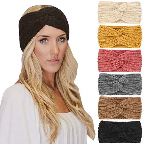 DRESHOW 6 Piezas Diadema Mujer Invierno Diadema Cabeza Anchas Cabello Turbante Banda Accesorio Pelo para Mujer Niñas