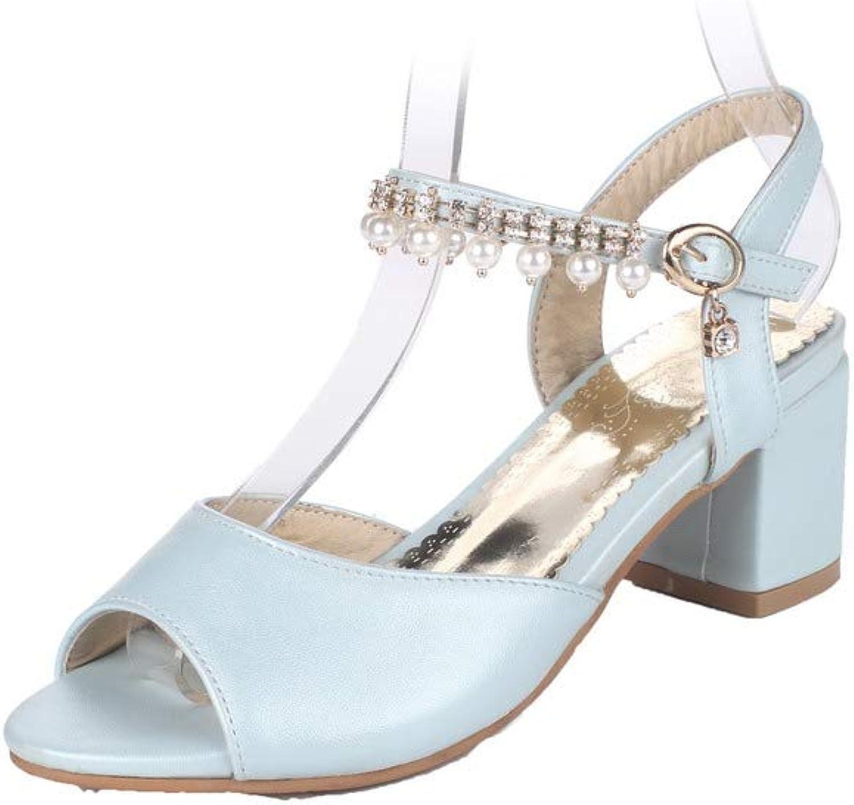 AmoonyFashion Women's Buckle Open-Toe Kitten-Heels Pu Solid Sandals, BUTLT007555