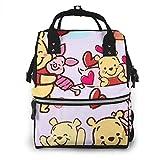 Zaino per borse per pannolini - Happy Winnie The Pooh Zaino da viaggio impermeabile multifunzione Maternità Borse per pannolini per neonati