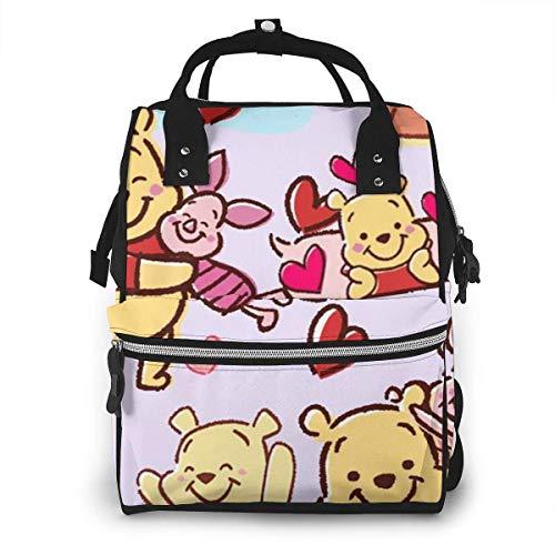 Sac à Dos Sac à Couches - Happy Winnie l'ourson Multifonctionnel étanche Sac à Dos de Voyage maternité bébé Nappe Sacs à Langer