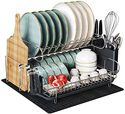Large 2 Tier Dish Drying Rack, MAJALiS 304 Stainless Steel Dish Rack and Drainboard Set, Dish Drainers for Kitchen Counter with Cutting Board Holder, Cup Holders, Utensil Holder and Drying Mat