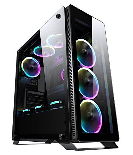 Sahara P35 - Caso di gioco per PC Mid Tower in vetro temperato con 4 x Turbo Pirate 12cm Veri ventilatori RGB, Nero