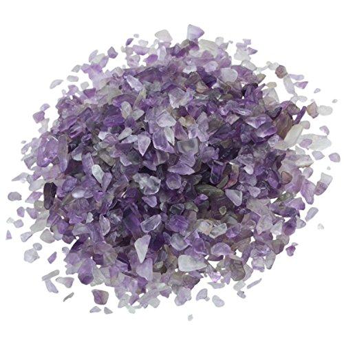 SUNYIK Amethyst Tumbled Chips Stone Crushed Crystal Quartz Pieces Irregular Shaped Stones 1pound(About 460 Gram)