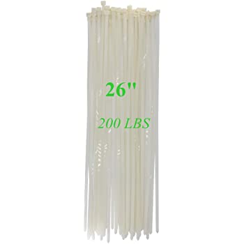 "Long Heavy Duty 26 Inch Nylon Zip Cable Ties Clear-Large 200 LBS Tensile Strength-Heavy Duty Industrial Durable Strong Cable Ties- 50 Pack - Indoor Outdoor Garden Ties Use(26"",200LB, White)"