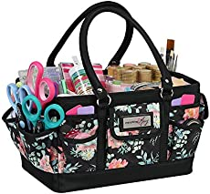 Everything Mary Craft Bag Organizer Tote, Floral - Storage Art Caddy for Sewing & Scrapbooking - Crafts Supply Carrier w/Handle for Supplies & Tools - Organization for School, Medical, Office