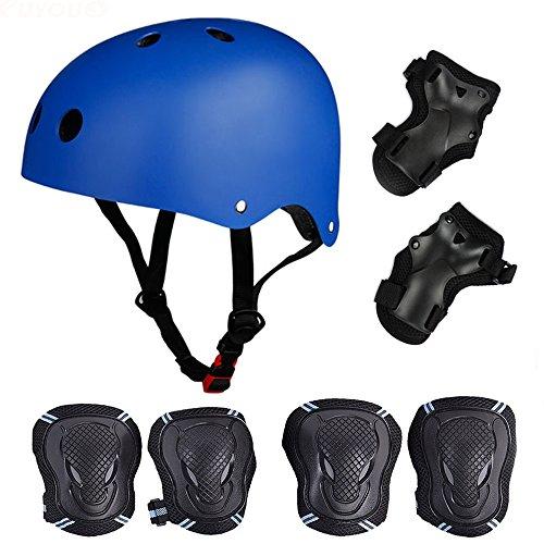 Skateboard / Skate Protektoren Set mit Helmet -- Skate Helmet Knie Pads Elbow Pads mit Handgelenkschoner für Skate, Skateboard, Roller Skate, BMX, Bike und anderen Extreme Sports,für Kopf M (52-57 cm) Blau
