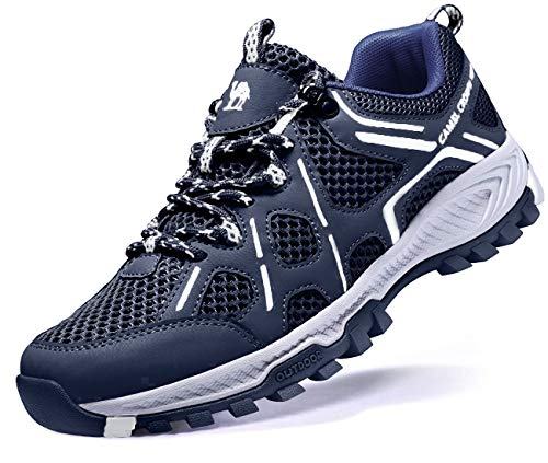 Official Camel Men Hiking Shoes Lightweight Non-Slip Mesh Trail Running Sneakers Breathable Outdoor Trekking Walking Shoes Dark Blue