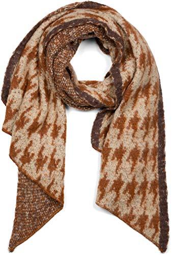 styleBREAKER Damen Web Schal mit Pepita Hahnentritt Muster in asymmetrischer Form, warm Winter weich, Stola 01017135, Farbe:Beige-Braun