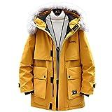DNJKH Chaqueta con Calefacción USB para Hombre Mujer Invierno Abrigos de esquí con Calefacción de 3 Zonas,Amarillo,M