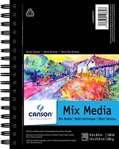 Canson Mix Media SpiralblockPad, 14 x 21,6 cm 30 Blatt