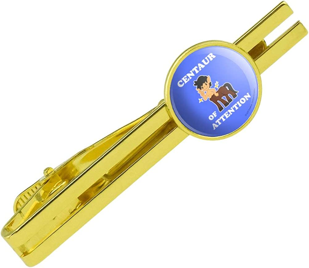 GRAPHICS & MORE Centaur Center of Attention Funny Humor Round Tie Bar Clip Clasp Tack Gold Color Plated