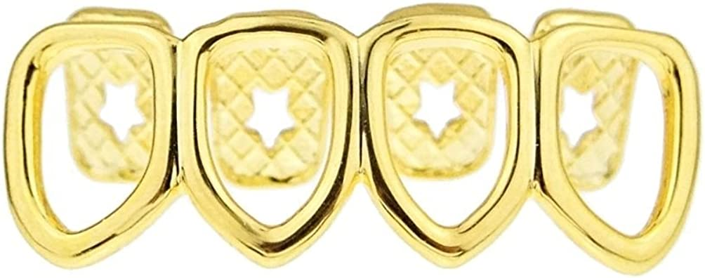 14k Gold Plated Four Open Face Tooth Grillz Lower Row Bottom Teeth Grill Hip Hop Mouth Grills