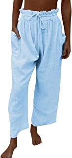 Xmiral Damesbroek met plooien, elastische taille, vrijetijdsbroek, effen, losse brede pijpen.