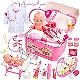 Buyger Maletin Medicos Juguete con Bebé, Botiquin Doctora Disfraz Kit Enfermera con Luces y Sonidos Juegos de rol Regalos para Niños Niña 3 4 5 Años (Rosa)