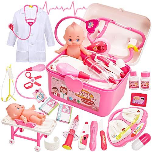 Buyger Maletin Medicos Juguete Botiquin Doctora Disfraz Kit Enfermera Accesorios con Luces y Sonidos Juegos de rol para Niños Niña 3 Años (Rosa)