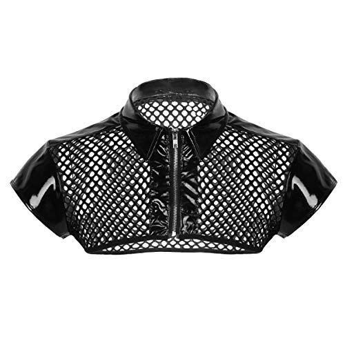 iiniim Camiseta de Malla Hombre Camisa Negro Fishnet Transparente Manga Corta Clubwear Apretada Muscular Ropa de Noche Traje de Fiesta Clubwear para Chicos Negro Medium