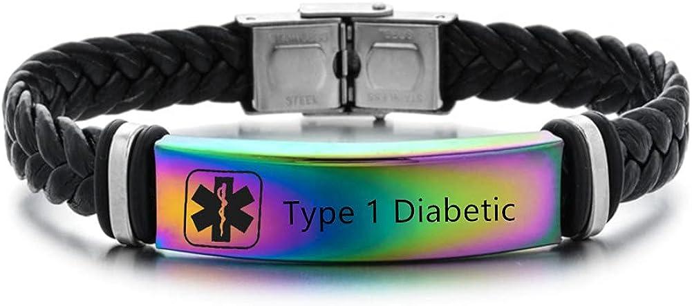 ZKXXJ Medical Alert ID Bracelets for Men Women,Adjustable Braide