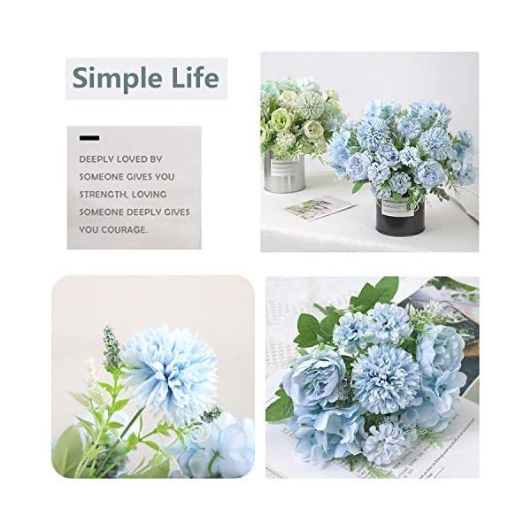 Homcomodar Flores artificiales de seda peonía, hortensias falsas, claveles, paquete de 2 unidades para decoración de…