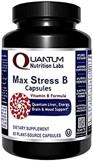Max Stress B Caps - 60 Vegan Capsules - Complete Vitamin B Formula for Liver, Energy, Brain and Mood Support