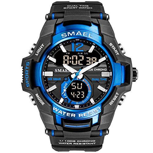 Smael Hombres Relojes Analógico De Doble Pantalla De Cuarzo Reloj Deportivo A Prueba De Agua 50M Reloj De Pulsera Militar Reloj Digital Militar Ejército Relojes (Azul)