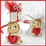 Ingrosso e Risparmio 12 Statuine in Resina a Forma di angioletti Eros seduti con Cuore Rosso Cupido, Idee bomboniere, segnaposto Battesimo, regalini San Valentino (Senza confezionamento)