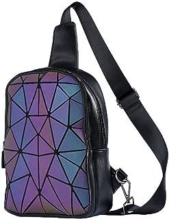 Lumikay Geometrische leuchtende Rucksäcke holografische reflektierende Tasche Irredescent Crossbody Tasche Prism Sling Bag...