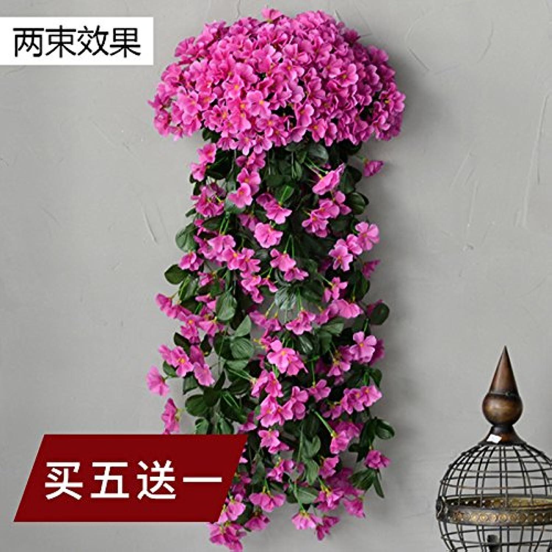 ZHUDJ Takuma Sato púrpuraa Flores Artificiales De Plástico verde Hoja Falso Ratán-Shik Balcón Muro Decorado Tubo Vines Vines, Flores De Malva Comprar (5 A 1)