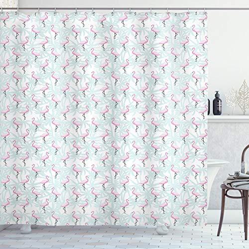 ABAKUHAUS Flamingo Duschvorhang, Palmen Rosa Vögel, mit 12 Ringe Set Wasserdicht Stielvoll Modern Farbfest & Schimmel Resistent, 175x180 cm, Mintgrün Hellrosa Schwarz