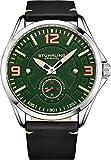 Stuhrling Reloj original de cuero para hombre, reloj de aviación, fecha de día, correa de cuero con remaches de acero, colección de relojes para hombre