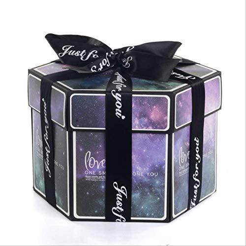 Geschenkdoos BLTLYX zeshoek verrassing explosie vak DIY handgemaakte plakboek fotoalbum bruiloft geschenkdoos voor Valentijn kerst geschenkdozen 8.9 * 12.7cm romantische aurora