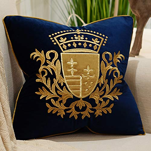 Avigers 18 x 18 Inch Embroidery Velvet Cushion Cover Shield Luxury European Pillow Case Pillowcase Home Decorative for Sofa Chair Bedroom Throw Pillow, Navy Blue
