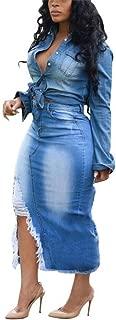 Women's Bodycon Ripped Denim Skirts High Waist Stretch Pencil Midi Skirt Plus Size