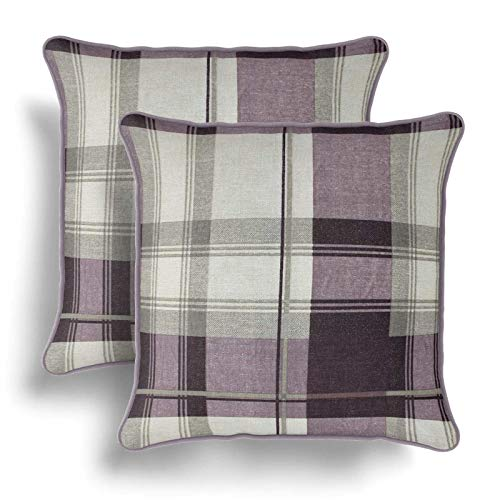 IT IDEAL TEXTILES Set of 2 Purple Tartan Cushion Covers, Pair of Plum Checked Design Cotton Cushion Covers, Piped Trim Cushion Cases, Sofa Chair Throw Pillow Cases, 17' x 17', 43cm x 43cm