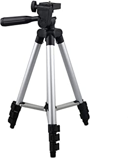 Portable Adjustable Aluminium Tripod with 3-Dimensional Head and Quick Release Plate (Black, Silver)
