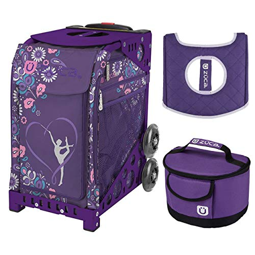 Zuca Gymnast Sport Insert Bag & Purple Frame with Gift Lunchbox and Seat Cushion